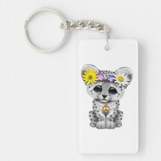 Cute Hippie Snow leopard Cub Key Ring