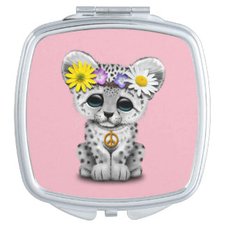 Cute Hippie Snow leopard Cub Mirror For Makeup