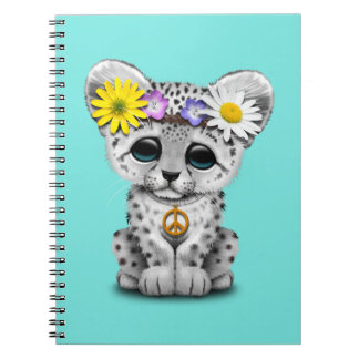 Cute Hippie Snow leopard Cub Notebook