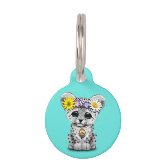 Cute Hippie Snow leopard Cub Pet ID Tag