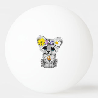 Cute Hippie Snow leopard Cub Ping Pong Ball