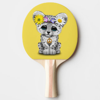 Cute Hippie Snow leopard Cub Ping Pong Paddle