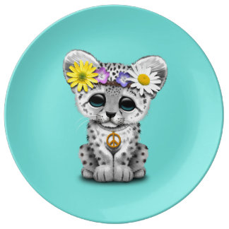Cute Hippie Snow leopard Cub Plate
