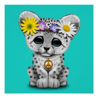 Cute Hippie Snow leopard Cub Poster