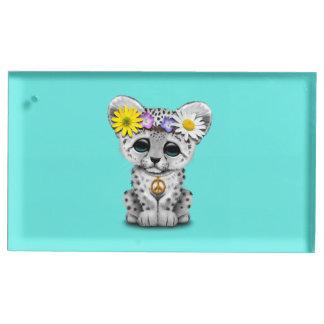 Cute Hippie Snow leopard Cub Table Card Holder