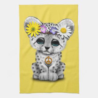 Cute Hippie Snow leopard Cub Tea Towel