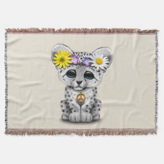 Cute Hippie Snow leopard Cub Throw Blanket