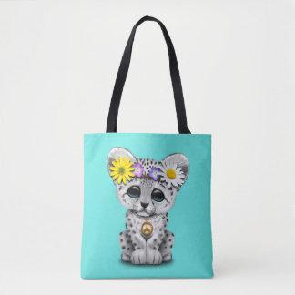 Cute Hippie Snow leopard Cub Tote Bag