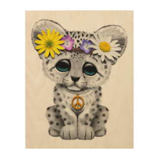 Cute Hippie Snow leopard Cub Wood Canvases