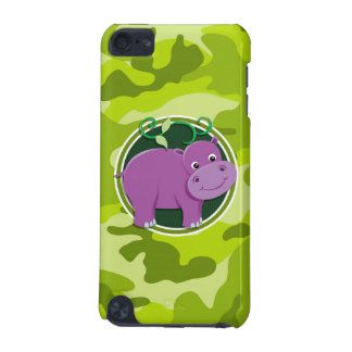 Cute Hippo; bright green camo, camouflage iPod Touch 5G Case