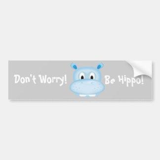 Cute Hippo Car Bumper Sticker