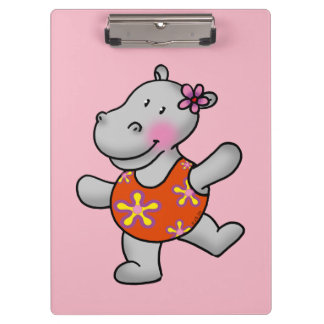 cute hippo girl in swim suit clipboards