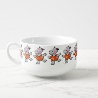 cute hippo girl in swim suit soup mug