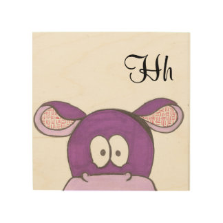 Cute Hippo Panel Art - H is for Hippo