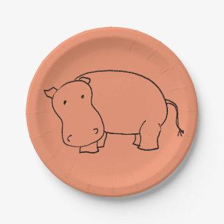 cute hippo paper plate