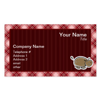 Cute Hippo; Red Plaid Pack Of Standard Business Cards