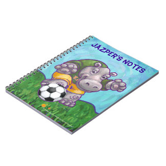 Cute Hippo Soccer Star Personalized Spiral Notebook