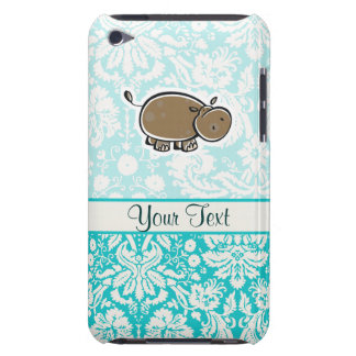 Cute Hippo; Teal Barely There iPod Cases
