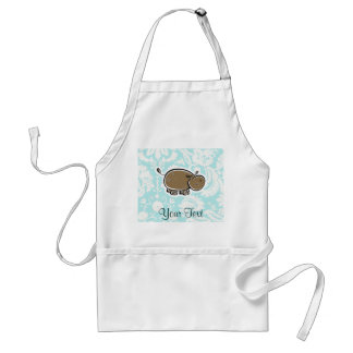 Cute Hippo; Teal Standard Apron