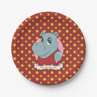 Cute hippopotamus cartoon paper plate