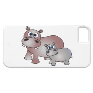 Cute Hippopotamus Mom and Baby Barely There iPhone 5 Case