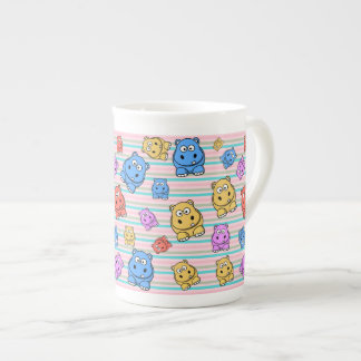Cute Hippos Colorful Zoo Animal Theme for Children Tea Cup
