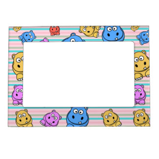 Cute Hippos Colourful Zoo Animal Theme for Magnetic Frame