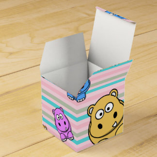 Cute Hippos Colourful Zoo Animal Theme for Wedding Favour Boxes