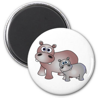 Cute Hippos Mom and Baby Magnet