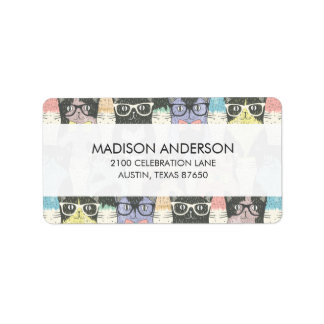 Cute Hipster Cats Pattern Address Label