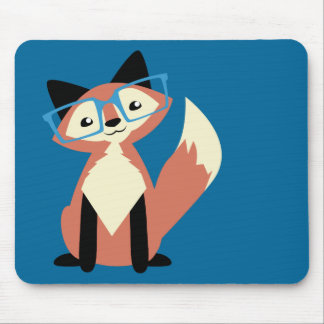 Cute Hipster Glasses Fox Mouse Pad