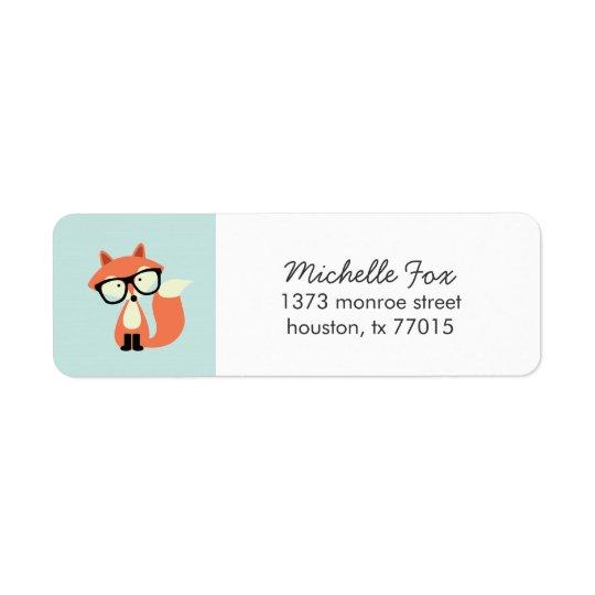 Cute Hipster Red Fox Return Address Label