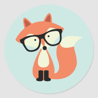 Cute Hipster Red Fox Round Sticker