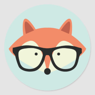 Cute Hipster Red Fox Round Sticker