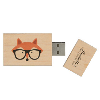 Cute Hipster Red Fox Wood USB Flash Drive