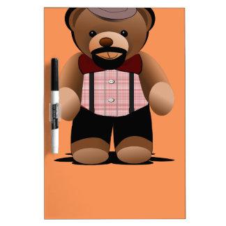Cute Hipster Teddy Bear With Beard Dry-Erase Board