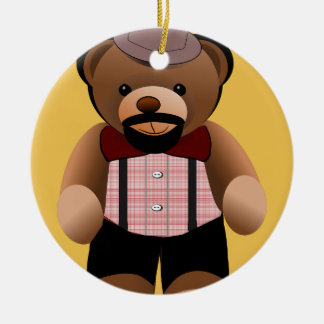 Cute Hipster Teddy Bear With Beard Round Ceramic Decoration