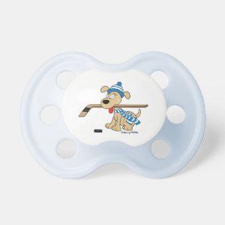 Cute Hockey Dog with Hockey Stick Blue Dummy