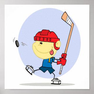 cute hockey kid cartoon poster