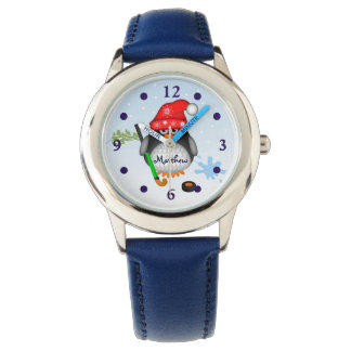 Cute Hockey penguin with custom Name Watch