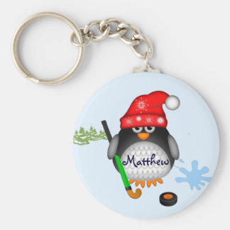 Cute Hockey penguin with hat and custom name Key Ring