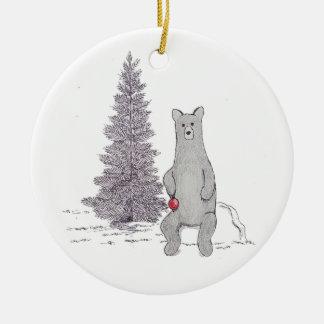 "Cute Holiday Bear Ornament. ""Tis the season"" Ceramic Ornament"