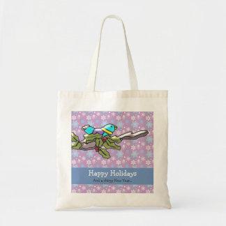 Cute Holiday Bird and Holly Happy Holidays Budget Tote Bag