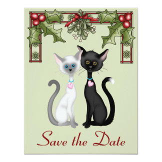 Cute Holiday Cats Save the Date Wedding Notice 11 Cm X 14 Cm Invitation Card