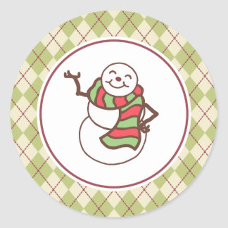 Cute Holiday Christmas Snowman Stickers