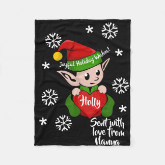 Cute Holiday Elf Personalised Fleece Blanket