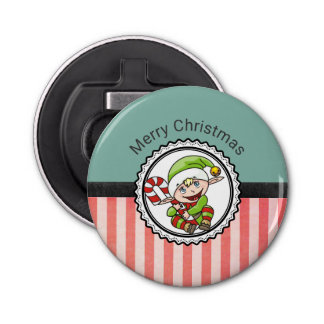 Cute Holiday Elf with Candy Cane Merry Christmas Bottle Opener