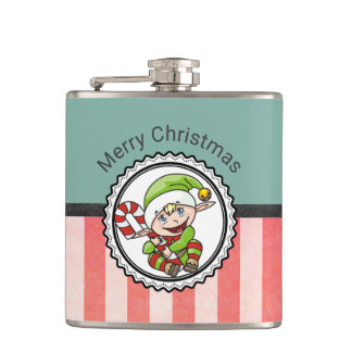 Cute Holiday Elf with Candy Cane Merry Christmas Flask
