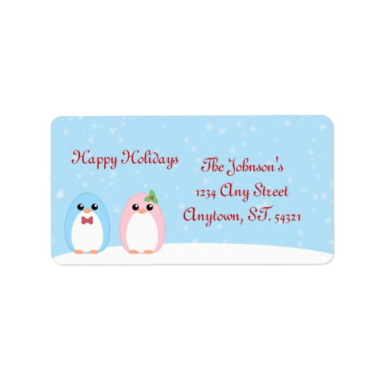 Cute Holiday Penguin Couple Label