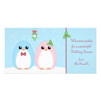 Cute Holiday Penguin Couple Photo Card Template